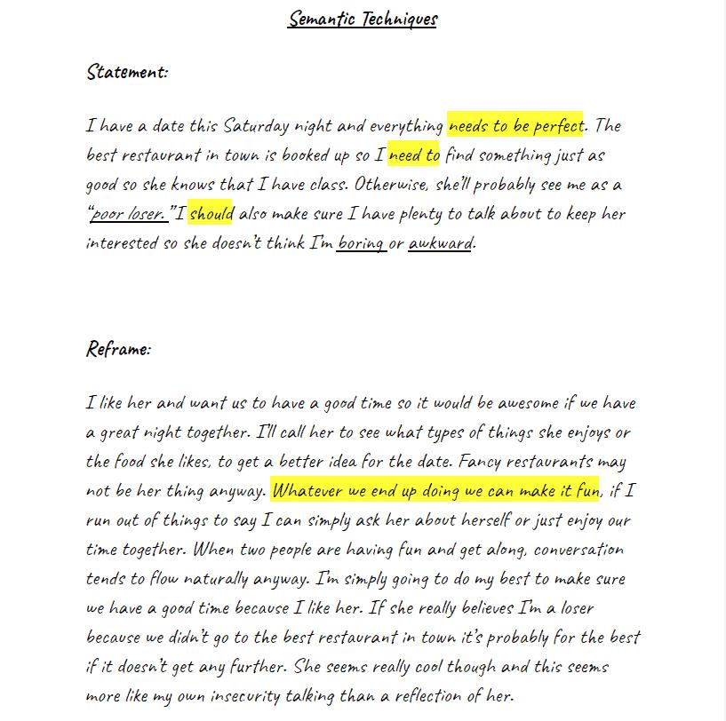 CBT semantic techniques